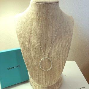 NIB Tiffany & Co. Hammered Silver Circle Pendant